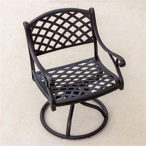 heritage cast aluminum patio swivel rocker dining chair