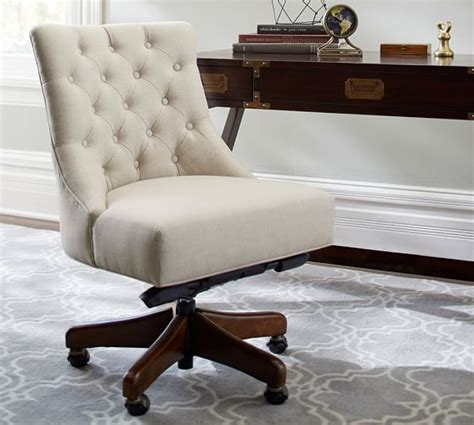 tufted swivel desk chair hayes tufted swivel desk chair pottery barn