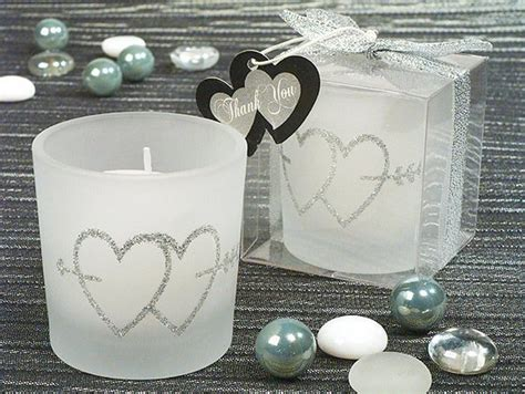 Silver Double Hearts Glitter Candle