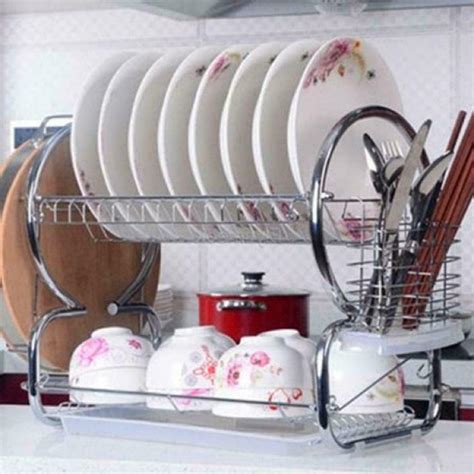 tier stainless steel dish rack space saver