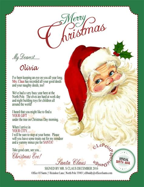 letter  santa claus editable printable father christmas
