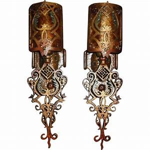 Spanish revival wall sconces w mica shields pair