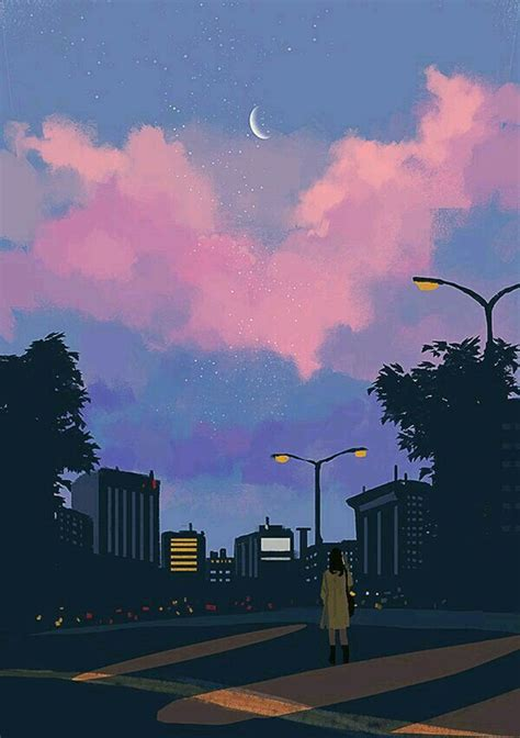 Aesthetic Scenery Lock Screen Vintage Aesthetic Wallpaper by Illustrations Anime Aesthetic Illustration