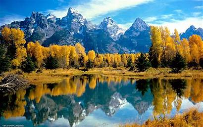 Fall Lake Mountain Canada Reflection Trees Desktop