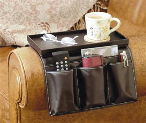 Leather Armchair Caddy by Remote Holder Sofa Arm Organiser With Tray Faux