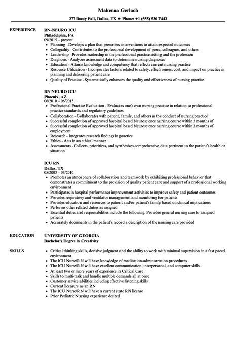 Icu Rn Resume by Icu Rn Resume Sles Velvet