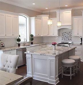 White cabinets grey granite white subway backsplash for Kitchen colors with white cabinets with instagram story stickers