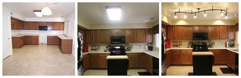 replace fluorescent light fixture in kitchen mini kitchen remodel new lighting makes a world of 9219