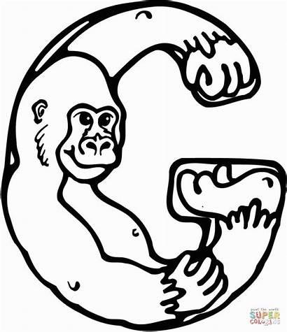 Letter Coloring Gorilla Printable Preschool Alphabet Gorila