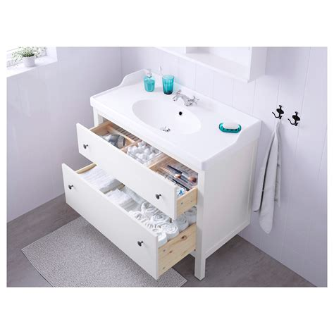 hemnes r 196 ttviken wash stand with 2 drawers white 100x49x89