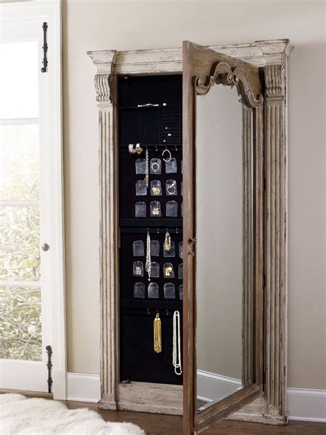 floor mirror jewelry storage cabinet hooker furniture accents chatelet floor mirror w jewelry armoire storage 5351 50003