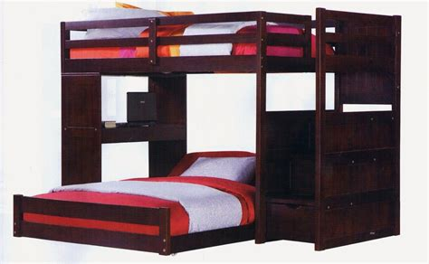bunk bed with desk and twin over full bunk bed with stairs and desk in dark