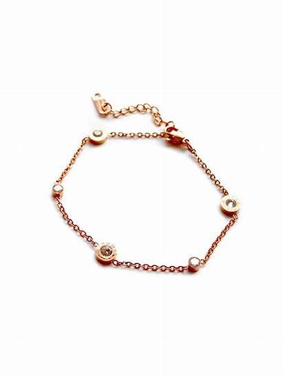 Stainless Steel Numeral Roman Bracelet Crystal Rose