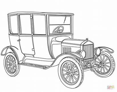 Coloring Cars Ford Printable Classic Drawing Sheets
