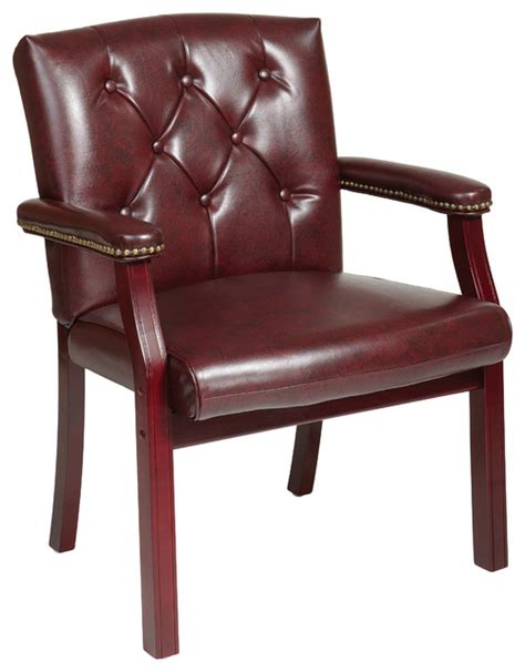 traditional visitors chair with padded arms traditional