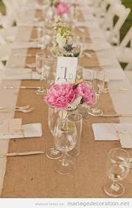 Fleurs Pas Cher Mariage : table de mariage decor e d 39 une fa on tout naturelle jute et fleurs d coration ~ Nature-et-papiers.com Idées de Décoration