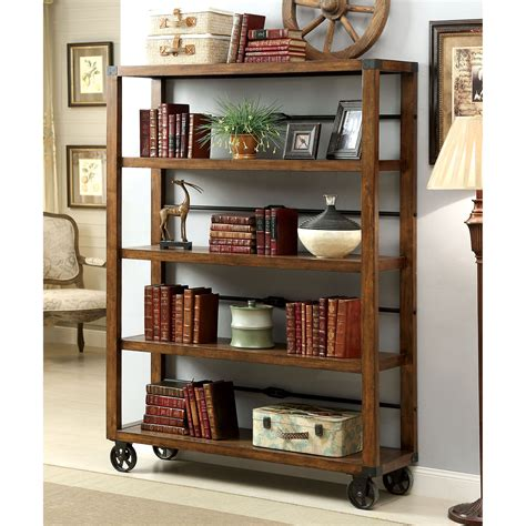 industrial bookcase on wheels furniture of america cornell industrial 5 tier bookshelf