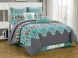 8p damask french lily fleur de lis comforter set silver gray blue turquoise king ebay