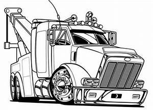 Big Tow Semi Truck Coloring Page Netart