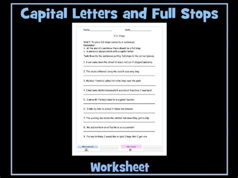 using stops and capital letters worksheet by krazikas