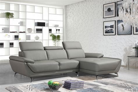 Divani Casa Sterling Modern Grey Eco-leather Sectional Sofa