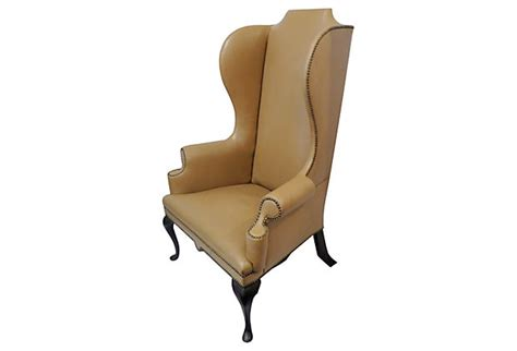 vintage high back wing chair omero home