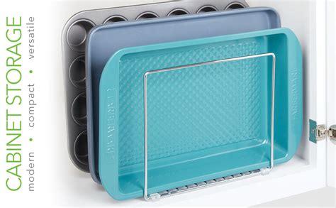 mdesign metal wire cookware organizer rack  kitchen cabinet pantry  shelves organizer