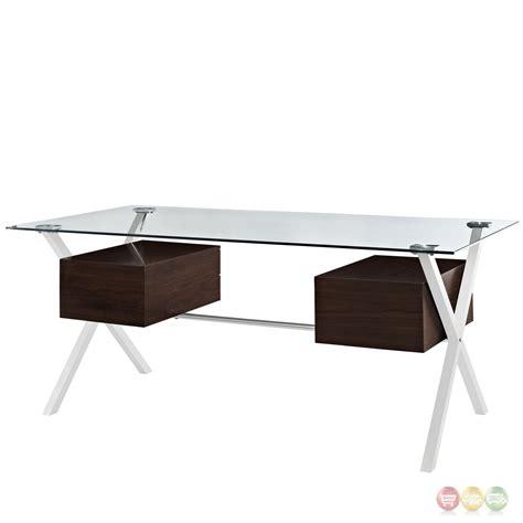 glass top office desk with abeyance modern glass top steel office desk with walnut