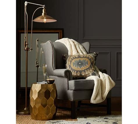 thatcher upholstered wingback chair pottery barn 899