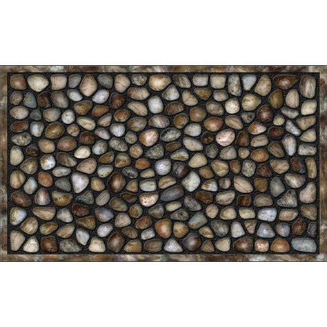 river rock doormat apache mills river rocks 18 in x 30 in recycled rubber
