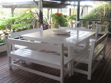outdoor table with bench seats kamelot constructions