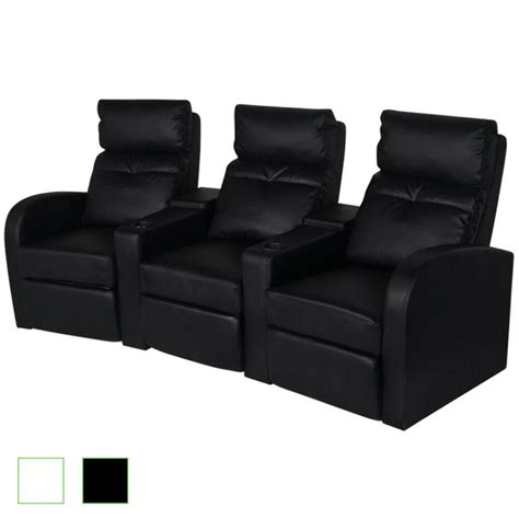 Home Theater Loveseat Recliners by Artificial Leather 3 Seat Home Theater Recliner Sofa