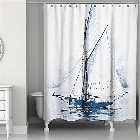 Designs Direct White Sailboat Shower Curtain In Bluewhite