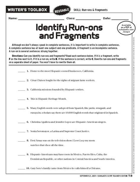 The Gallery For > Run On Sentence Worksheet