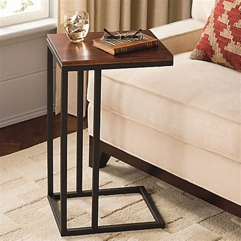bed bath and beyond side table black and tan hamilton narrow wood top c table bed bath