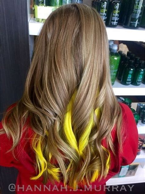 Brown Hair With Yellow Highlights by 20 Pretty Ideas Of Peek A Boo Highlights For Any Hair Color