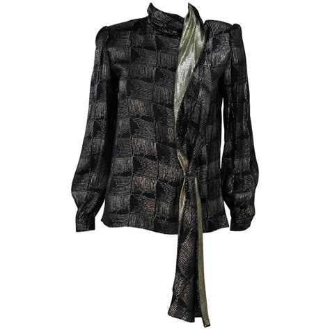 black and gold blouse valentino black and gold silk metallic blouse with neck