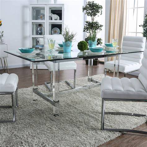silver orchid falconetti acrylic  glass dining table