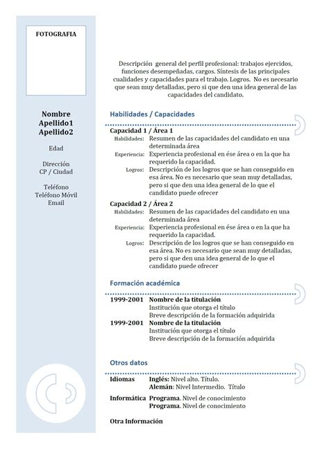 exemple de cv funcional en espagnol modele  bleu