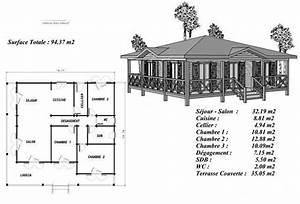 plan maison bois modele pin sylvestre avec terrasse coursive With plan de maison sur pilotis