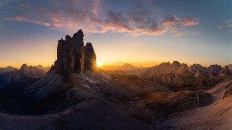 dolomites italy poster majestic  peaks tre cime  lavaredo sunrise ultra hd wallpapers  desktop mobile phones  laptop