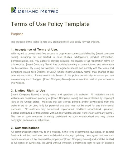 terms   policy template