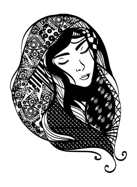 onlinelabels clip art woman  detailed head scarf