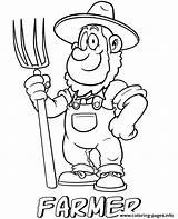 Farmer Coloring Professions Printable Farmers Cartoon Market Template sketch template