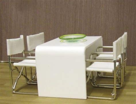 white acrylic minimalist dining table miniatures