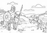 Coloring Goliath David Sunday Stones Bible Story Sheets App Slings Giant Unique Things Ic Strip sketch template