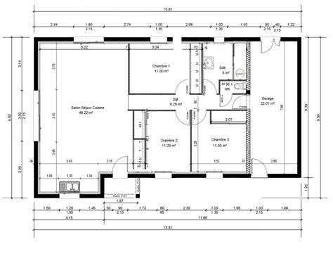 plan 3 chambres plan maison 4 chambres 130m2