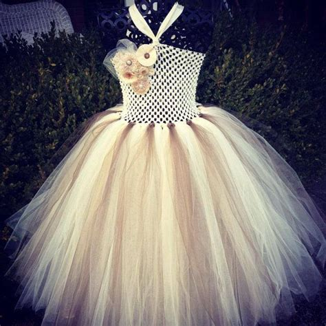 Burlap And Lace Couture Flower Girl Tutu Dress Shabby Chic