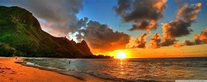 Sunset Background Hawaii Beach Beaches Sun Wallpapers