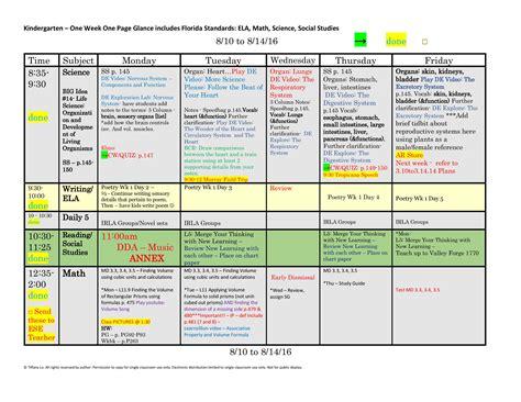 kindergarten florida standards weekly lesson plan template 671 | K 1 Week 1 Page Glance 1